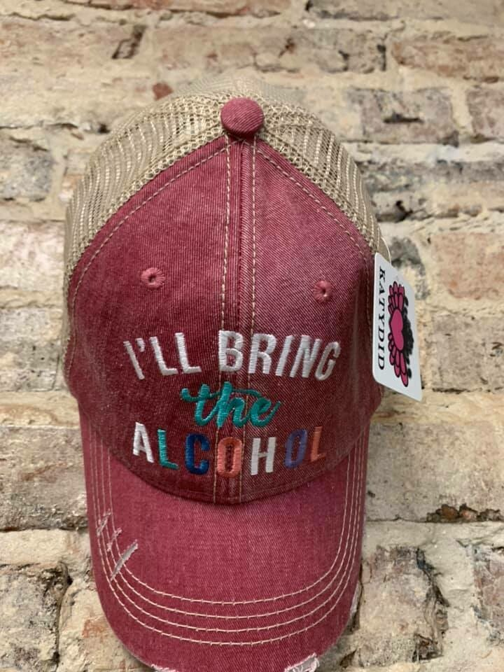 Hat - I'll Bring the Alcohol on Mauve Trucker Hat
