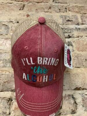 Hat-  I'll Bring the Alcohol on Mauve Trucker Hat
