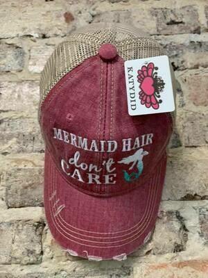 Katydid Hat-Mermaid Hair Don't Care on Mauve Trucker Hat