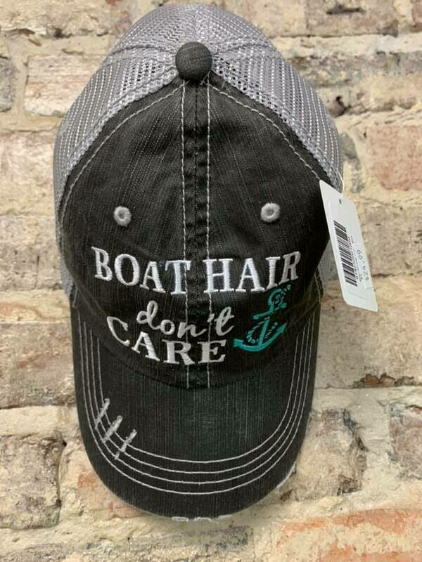 Hat-  Boat Hair Don't Care Trucker Hat