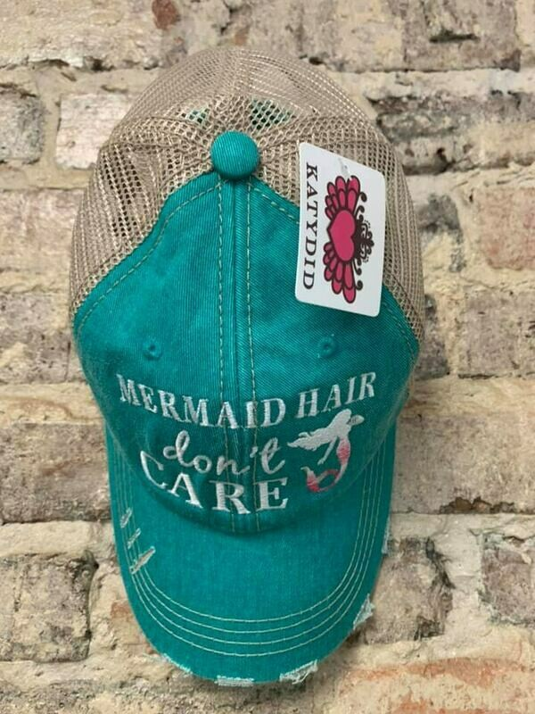 Hat - Mermaid Hair Don't Care on Teal Trucker Hat
