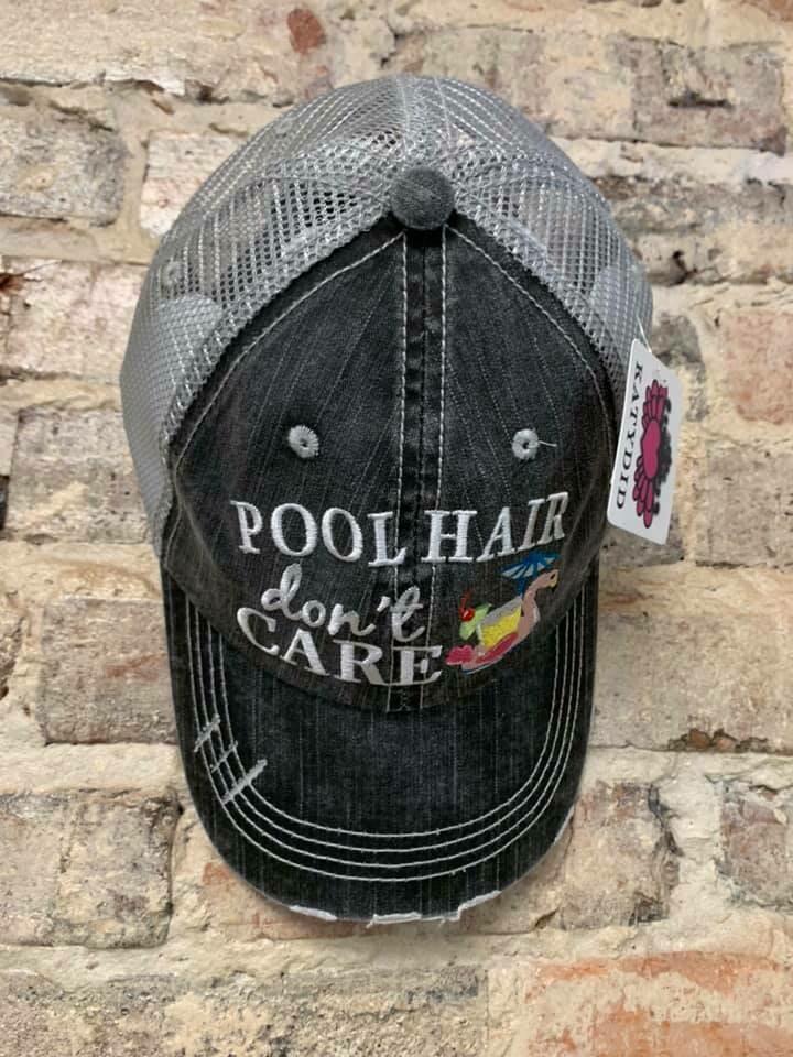Hat-  Pool Hair Don't Care (SWAN FLOAT) Trucker hat
