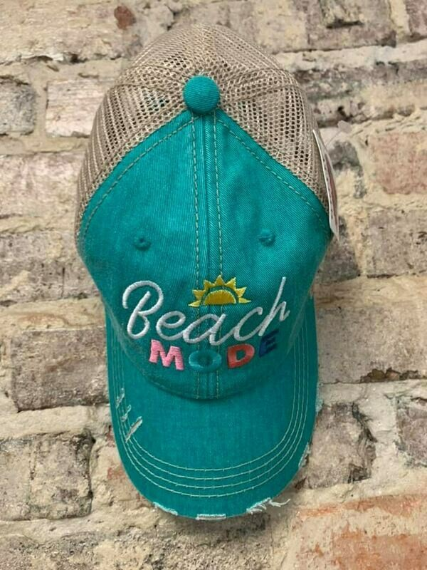 Hat - Beach Mode on Teal Trucker Hat