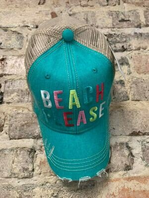 Hat-  Beach Please MULTICOLORED Trucker Hat
