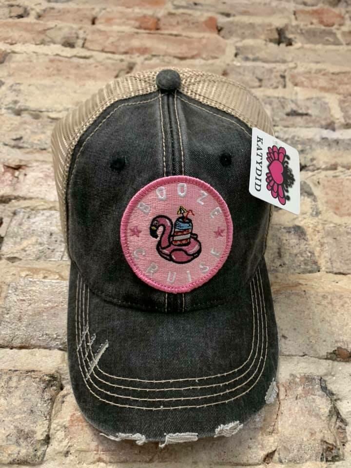 Hat - Booze Cruise Pink Flamingo Circle Patch