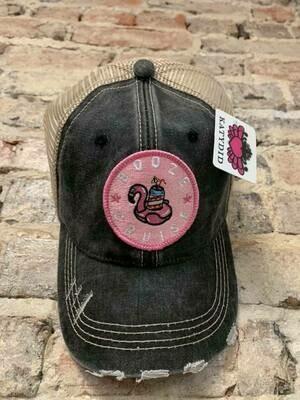 Hat- Booze Cruise Pink Flamingo Circle Patch