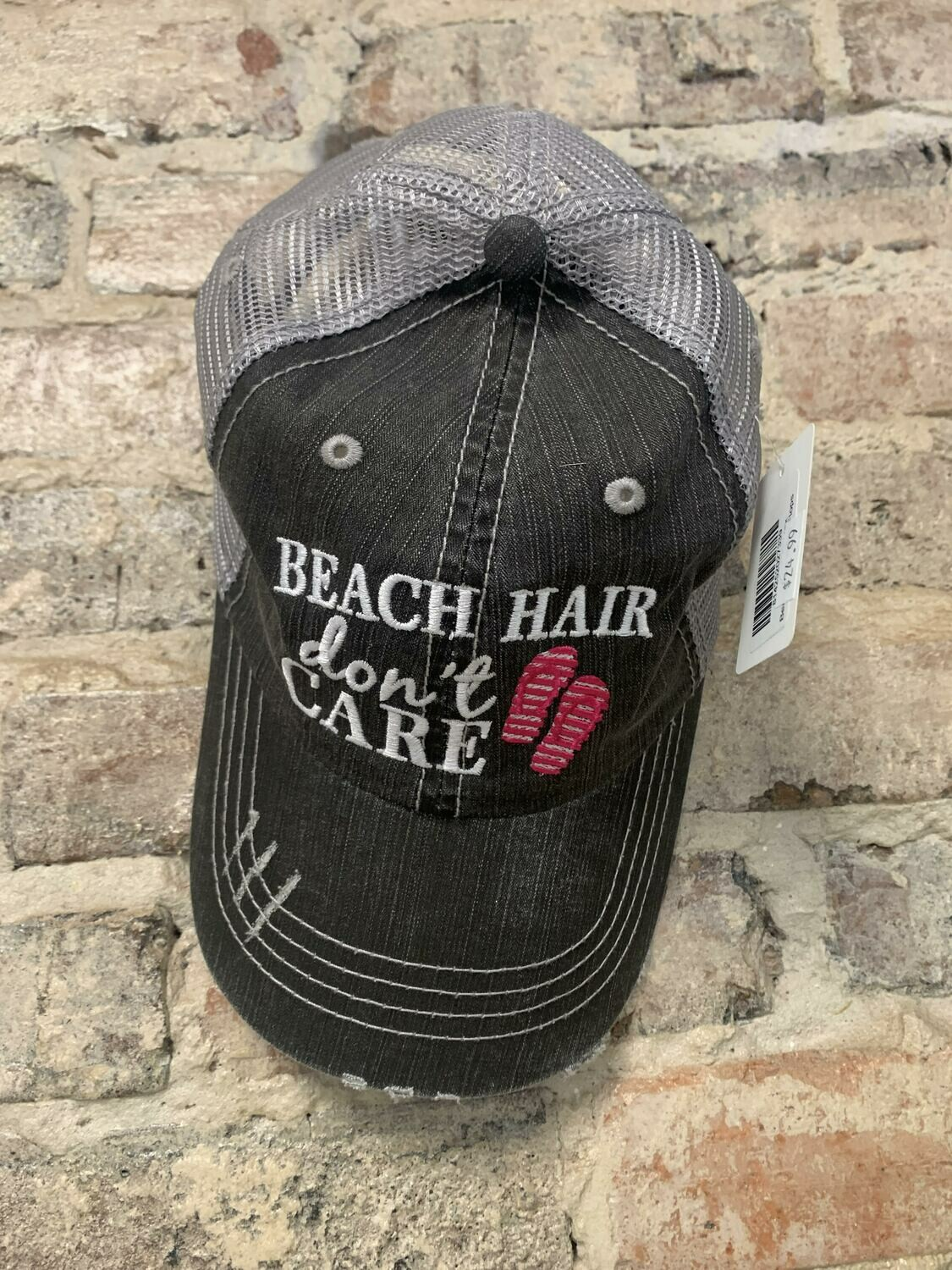 Hat - Beach Hair Don't Care with Flip Flops