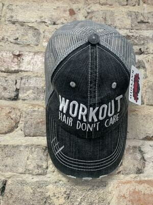 Hat - Workout Hair Don't Care Trucker Hat