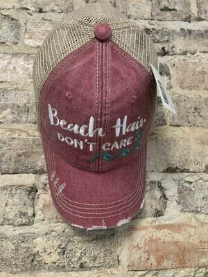 Hat-  Beach Hair Don't Care WAVES on Mauve Trucker Hat
