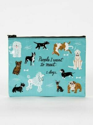 Blue Q Zipper Pouch - PEOPLETOMEET: DOGS