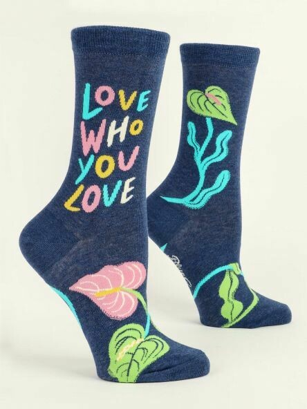 Blue Q Crew Socks - Love Who You Love