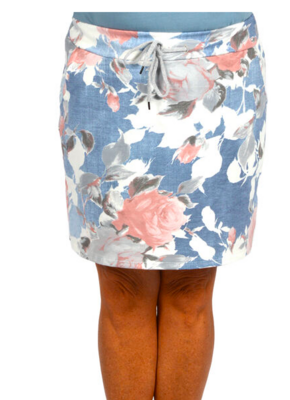 CLW - Pink Floral Jean Skirt (one size)