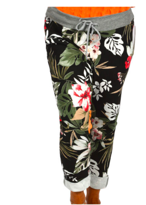 CLW - Black Tropical Print Jeans (One Size)