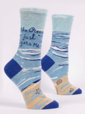 Blue Q Crew Socks-Ocean Gets Me