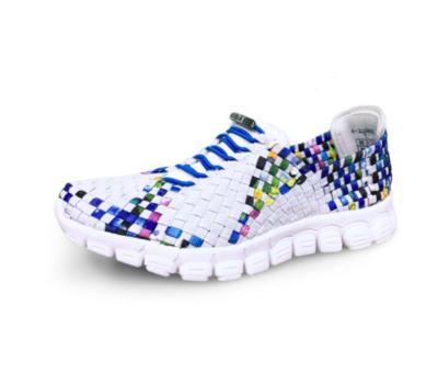 Zee Alexis -  DANIELLE- White/Turquoise Multi Woven Sneakers