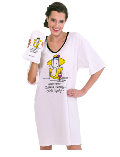 Emerson Street ONE SIZE Night Shirt - Listen Honey-Conserve Energy...Drink Slowly