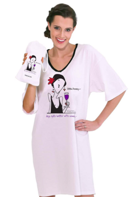 Emerson Street ONE SIZE Night Shirt - Listen Honey, Age Gets Better With Wine