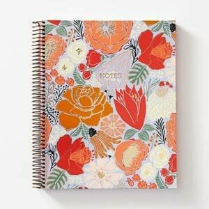 4 Subject Coral Bold Bloom Ntbk
