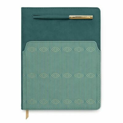 Teal Two Tone - Vegan Leather Undated Planner W/Pen and Pocket
