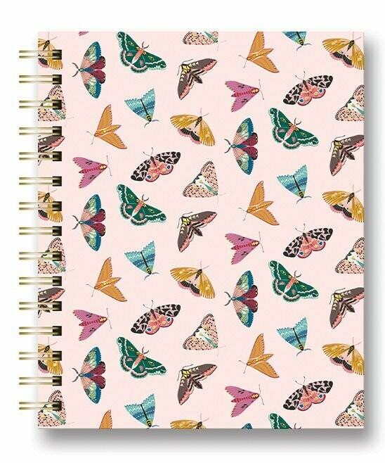 Floral Moth Medium Tabbed Spiral Notebook