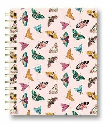 Floral Moth Medium Tabbed Spiral Notebook