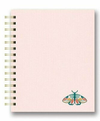 Floral Moth Embroidered Tabbed Notebook