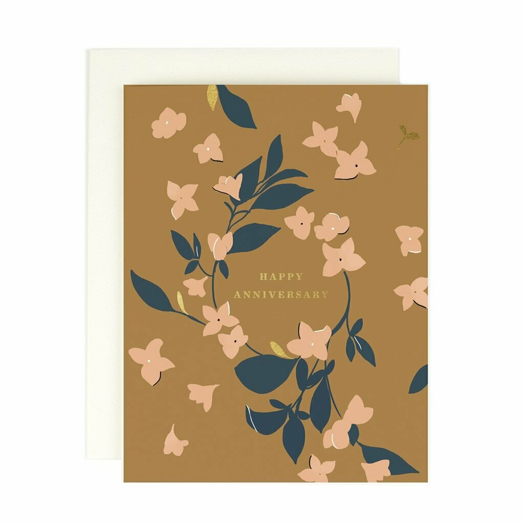 Happy Anniversary (Floral and Gold)