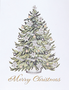 """""""Merry Christmas"""" Tree Scrolls Boxed Cards"""