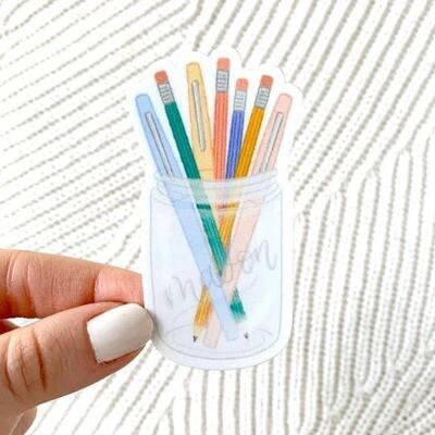 Pens & Pencils Mason Jar Sticker