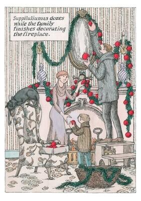 Edward Gorey: Decorating the Fireplace Holiday Cards