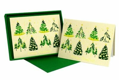 Christmas Tree Green Boxed Cards - Set of 8