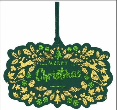 Green Cotton Merry Christmas Gift Tags