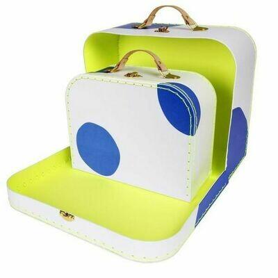 Blue Polka Dot Suitcase Large