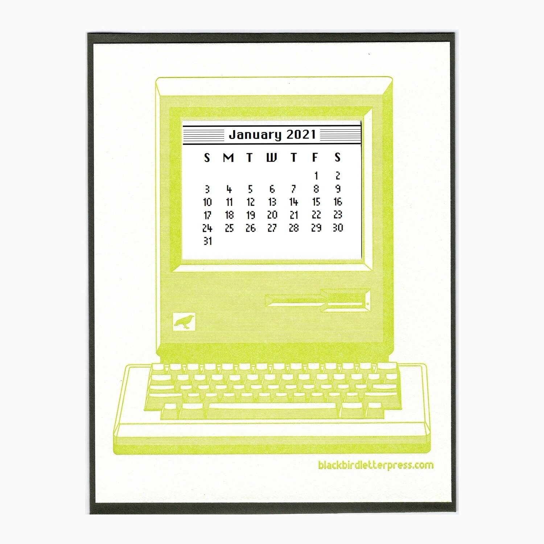 2021 Vintage Computer Mini Calendar Card