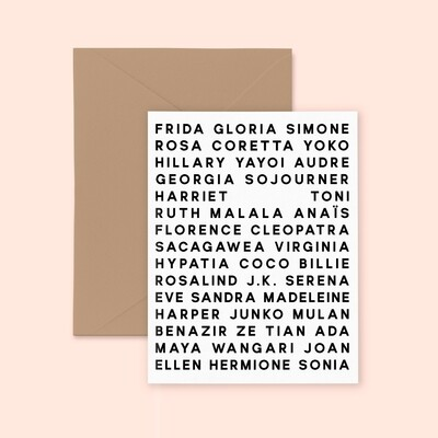 Customizable Women's Names Card