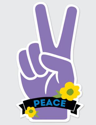 Purple Peace Hand Sticker