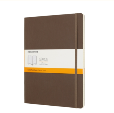 Moleskine  Brown Ruled Notebook (7 1/2 X 9 3/4)