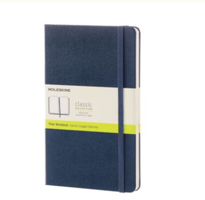 Moleskine Large Unlined Notebook - Sapphire Blue Soft Cover