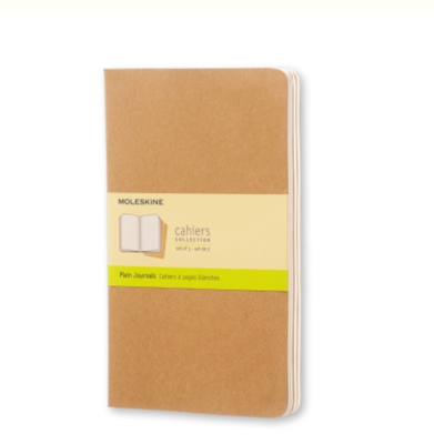 Moleskine Cahiers Large Unlined Journals - Brown Cardboard Cover