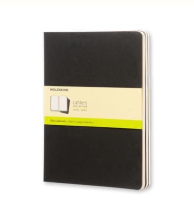 Moleskine Cahiers XL Unlined Journals - Black Cardboard Covers