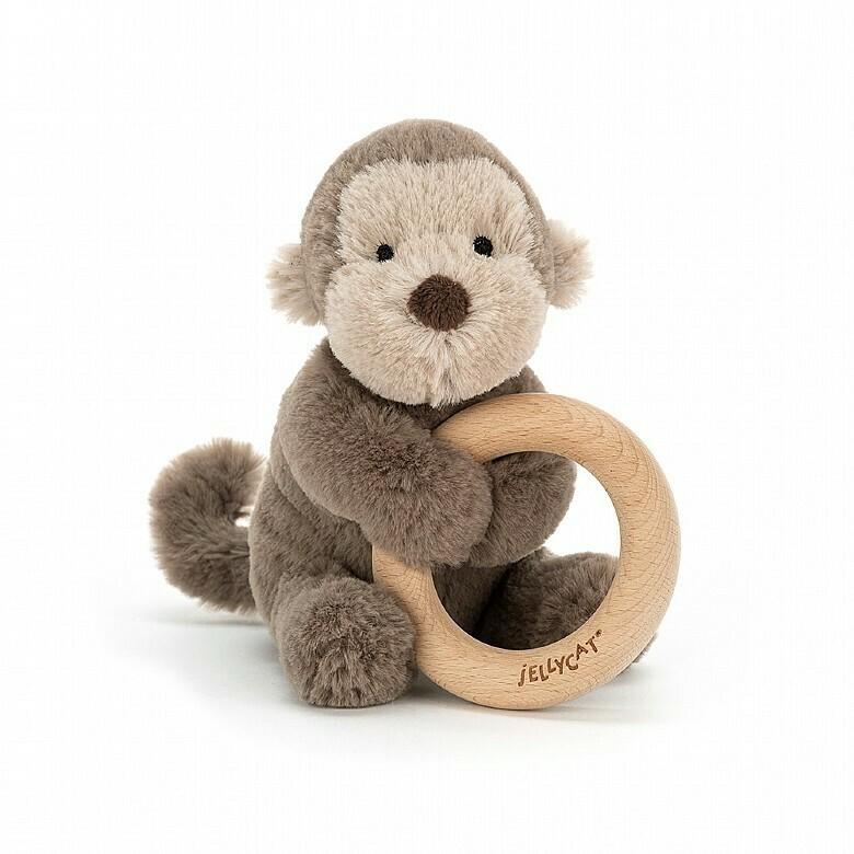 Bashful Monkey Wooden Ring Toy