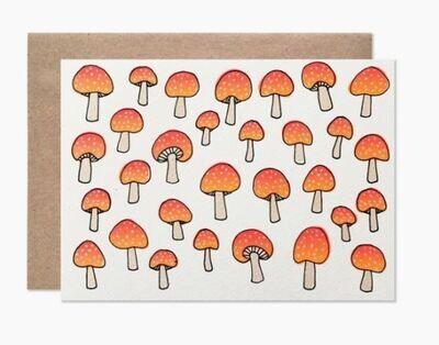 Neon Mushroom Card Set of 8