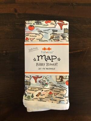 Arkansas Map Baby Blanket