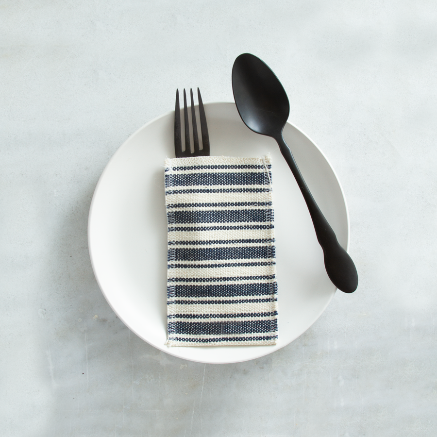 Navy Cotton Stripe- Set of 8
