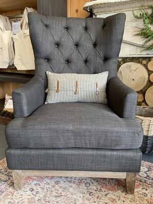 Cotton Ticking Striped Pillow w/ Leather Trim, Beige & Black