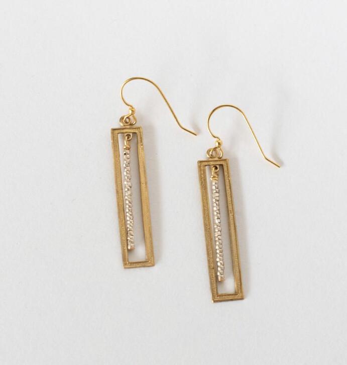 Brass Bar/Silver Beaded Earrings