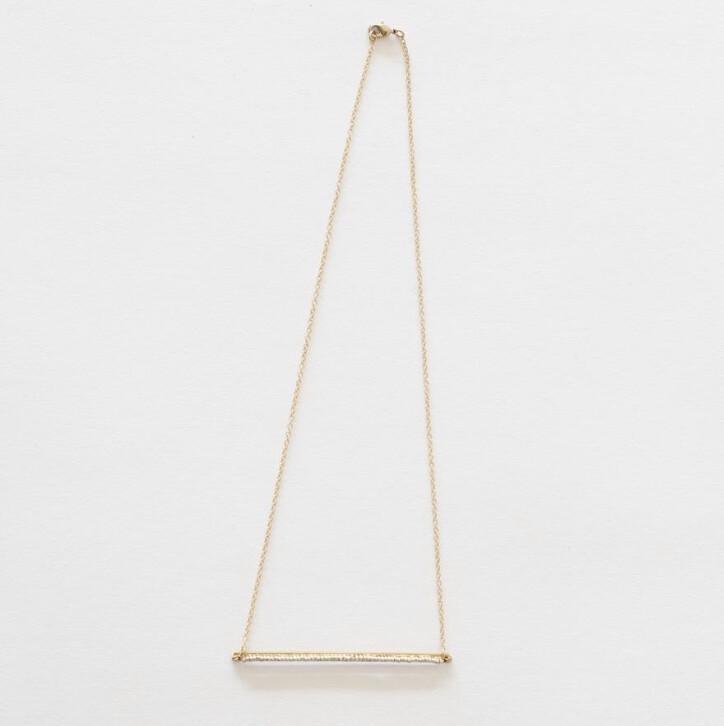 Beaded Brass Bar Necklace