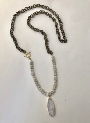 Adjustable Druzy Necklace- White Lace Agate