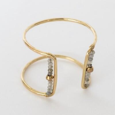 Square Cuff Bracelet- Labradorite/Metal Bead- Brass