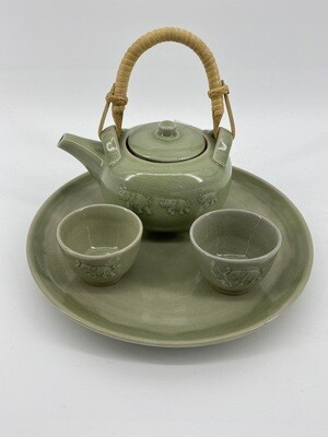Celadon Elephant Tea Set S/4